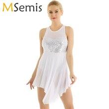 Adult Women Ballet Dress Ballerina Tank Sequins Asymmetric Mesh Criss Cross Back Ballet Leotards for Women Ballet Dance Dress