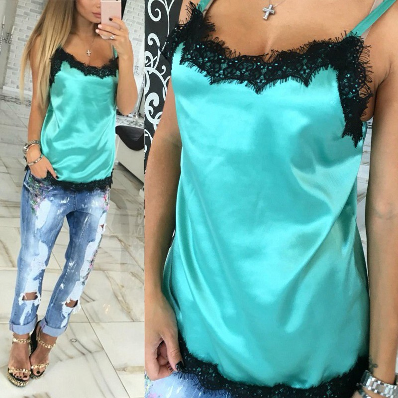 T-Shirt Fashion Sexy Women Camisoles Summer Casual Lace Patchwork Vest Tops Sleeveless Tank Tops