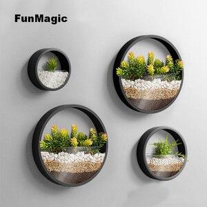 Image 4 - 3 pièces/lot créatif Vase mural en métal solide couleur suspendus Vases bonsaï pour la décoration de la maison artisanat/artificiel fleur support planteur