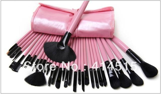 Frete Grátis Famosa Marca Professional 32 pcs Pincéis de Maquiagem Conjunto Kit Escova Cosmética Com Capa de Couro Rosa Beauty Make Up ferramentas