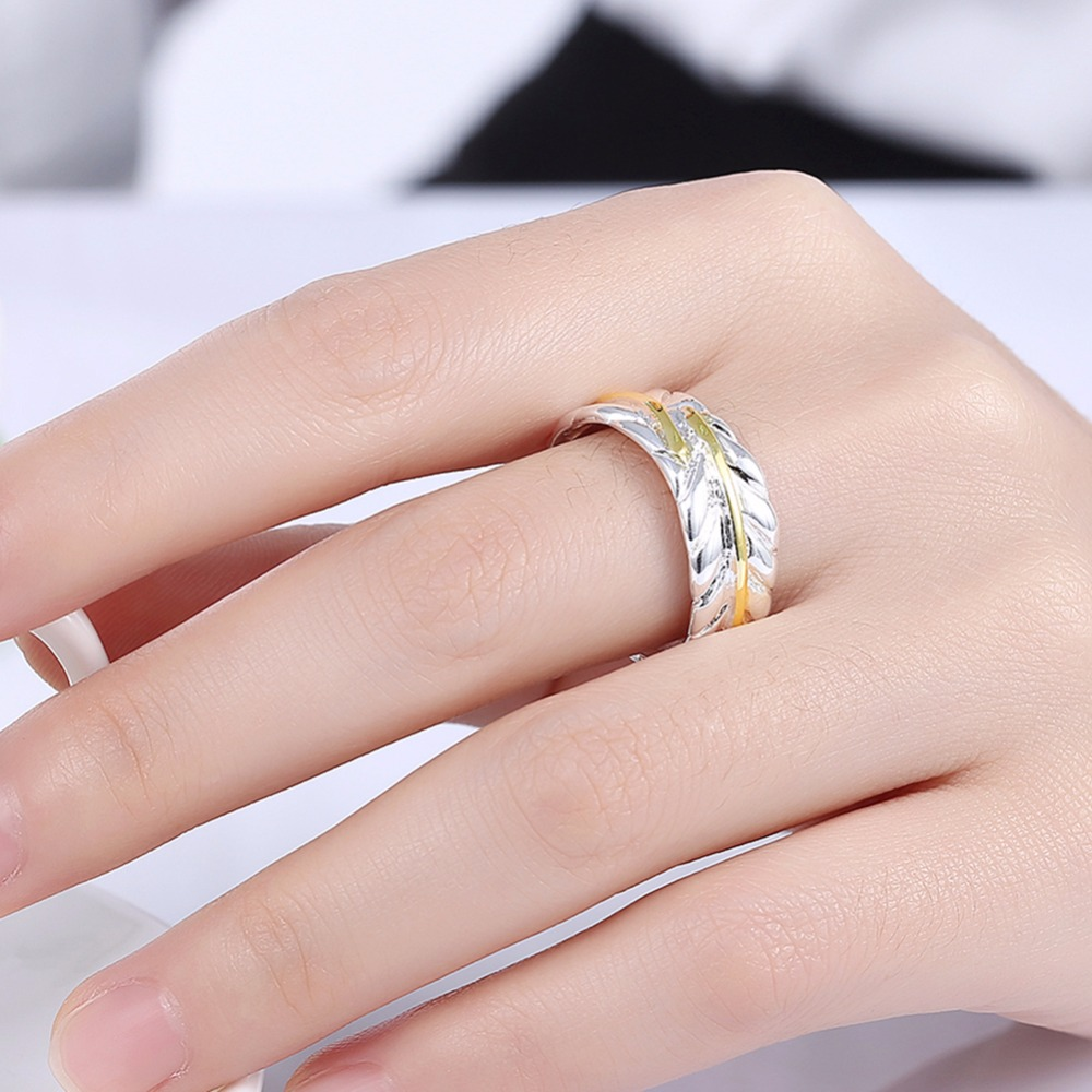 Golden leather any size charming big rings finger wear 10mm open 925 ...