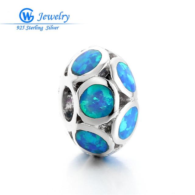 Top venta Nuevo Estilo Fresco Azul Ópalo de Plata Encanto Sellado para las mujeres de joyería de moda joyas joyería fina gw fine jewelry FX006H35