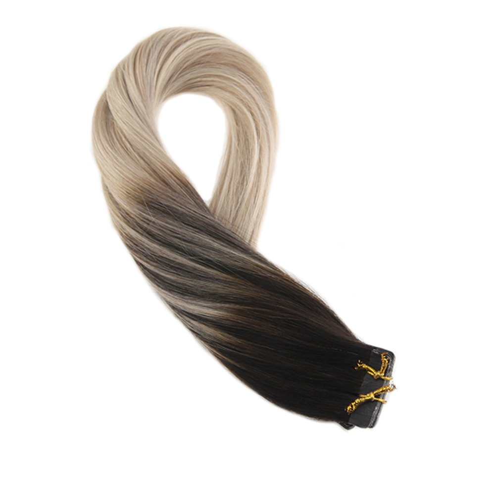 Moresoo Hair Extensions Tape In Human Hair Balayege Coloe #1B Off Black Ombre To Brown And Blonde Skin Weft Tape On Remy Hair