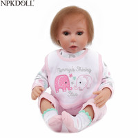 NPKDOLL 22 Inch 55cm Reborn Doll Newborn Baby Soft Mohair Vinyl Body Doll Pink Clothes Bebe Reborn Toys for Girls Juguetes