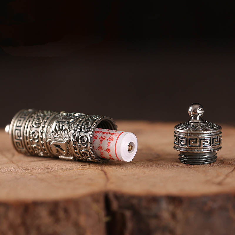 Image 2 - Tibet Buddhism Surangama Mantra Rotatable Pendants Necklace Sanskrit Amulet Necklace Prayer Wheel Men Storage Case Jewelry-in Pendants from Jewelry & Accessories