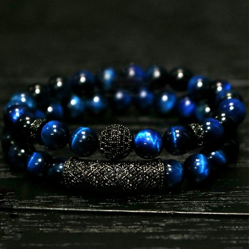 2018 New 2Pcs/ Set of Luxury Natural Tiger Eye Stone Bracelet Ladies And Gentlemen Jewelry Necklace Bracelet Gift Men's Bracelet(China)