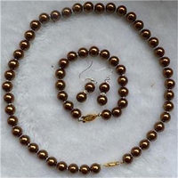 New 8mm Moving Chocolate Sea Shell Pearl Necklace & Bracelets Earring Set AA255