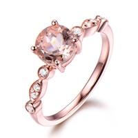 Pink Morganite Engagement Ring 14k White Yellow Rose Gold Round Cut Antique Diamond Wedding Bridal Anniversary