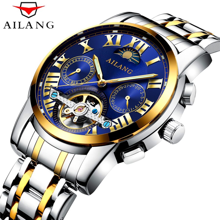 Fashion Mens Watches Top Brand Luxury AILANG Clock Male Stainless Steel Military Tourbillon Mechanical Watch Men Sport Relogio 2016 hot sale top brand ailang luxury men watches casual fashion waterproof stainless steel wristwatches mechanical watch