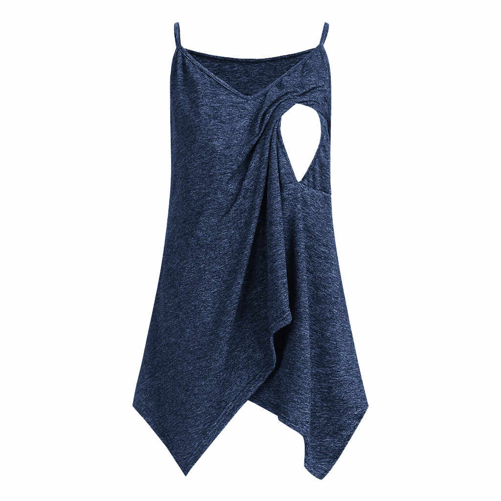 Vrouwen Zwangerschap Shirts Nusring Moederschap Mouwloze Bandjes Lrregularity Solid Tops Tee ShirtRopa Embarazada Blouse Allaitement