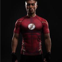 New red flash compression shirt fitness tights crossfit quick dry short sleeve t shirt Summer Men