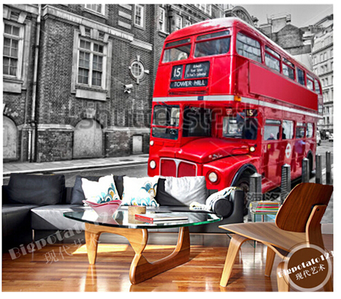 Custom Retro wallpaper, Red London bus murals for the sitting room the bedroom TV sofa wall waterproof vinyl papel DE parede custom photo wallpaper papel de parede forest scenery for the sitting room sofa setting wall vinyl bedroom which wallpaper