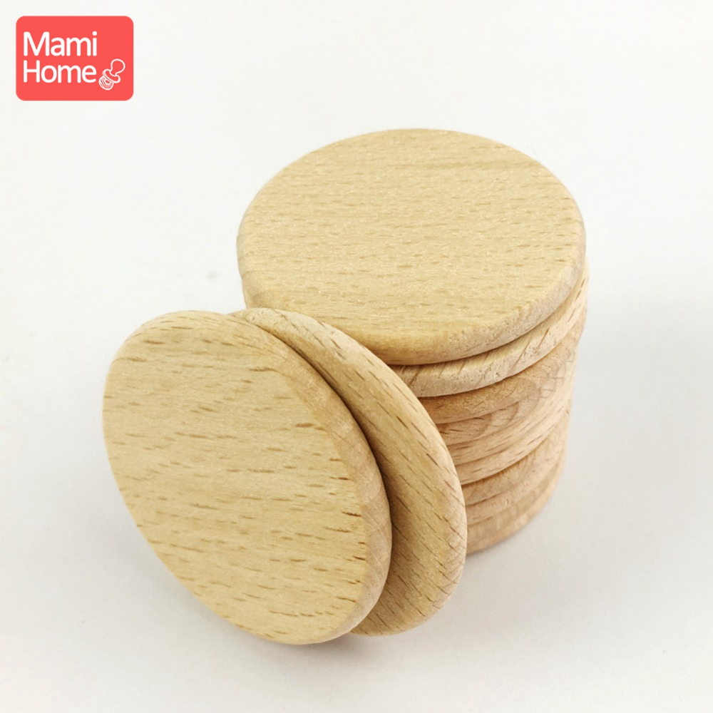 Mamihome 30pcs 37mm Beech Wood Discs Coins Circles Unfinished Natural Flat Beads Pendant DIY Crafts Decor Discs Baby Teether