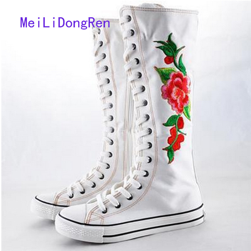 Plus Size 35-43 Flowers Women High Top Canvas Shoes Flats Breathable Knee High Boots Zipper Long Shoes Casual zapatos mujer