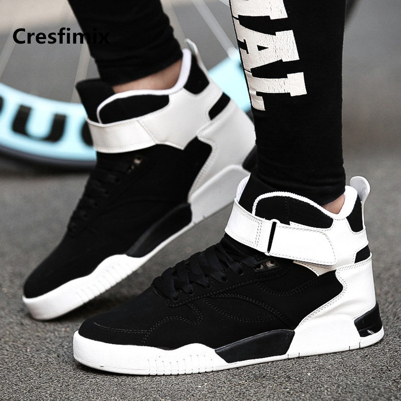 Cresfimix male fashion black & white lace up high shoes men cool spring & autumn shoes man's casual height increased shoes a2277 2017 spring autumn men casual shoes lace up high quality pu leather shoes for male fashion white shoes x24 65