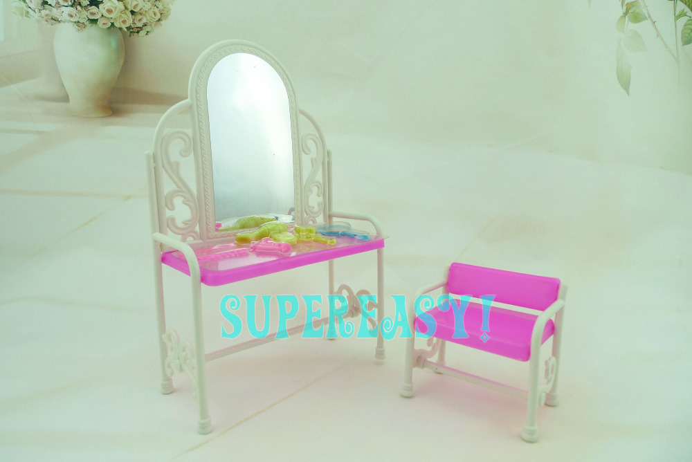 1 Set Plastic Dresser Table + Chair House Furniture Toy Accessories For Barbie Kurhn 11.5 12 Doll Kid xMas Gift Pretend Play