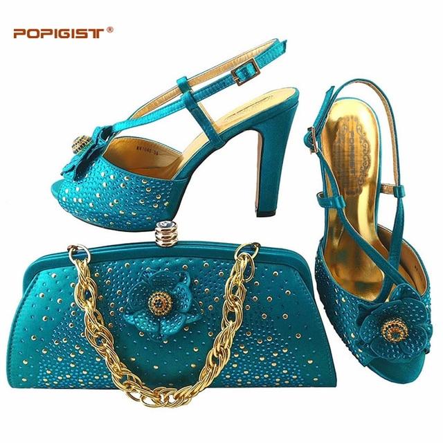 a932d737ccd Teal Fashion Summer Women High Heels Sexy Stripper Shoe with bag Party Pumps  Shoes Women Platform Wedding Shoes Matching Bag Set