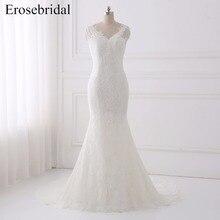 Elegant 2018 Wedding Dress Erosebridal Lace Dresses Plus Size Bridal Gown Simple V Neck Vestido De Noiva GLT005