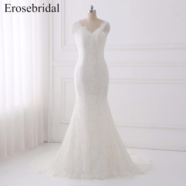 Elegant 2018 Wedding Dress Erosebridal Lace Wedding Dresses Plus Size  Bridal Gown Simple V Neck Vestido De Noiva GLT005 15321be87aef