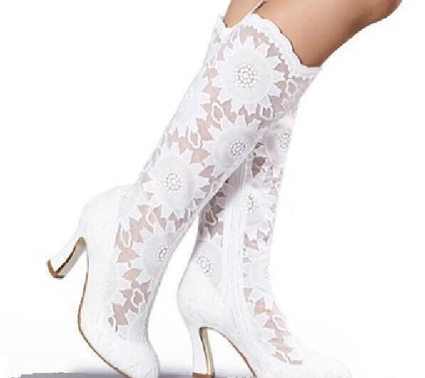 Caliente Mujeres Blanco Tacón becerro Zapatos Botas Mediados Tamaño Pu Estrecha Moda Cuadrado Gran Punta Boda De Encaje De qr57q4