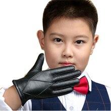 Gloves Velvet Winter Kids Five-Fingers Genuine-Leather Warm Boys Children for NM964-5