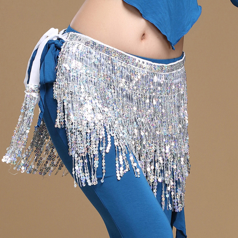 2018 Women Belly Dance Clothes Accessories Tassel Belts Ladies Belly Dance Hip Scarf Sequins Belt 12 Colors