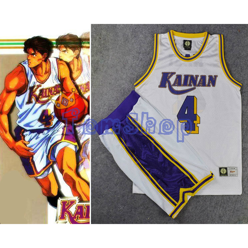 Anime Slam Dunk KAINAN Captain No. 4 SHINICHI MAKI Cosplay Costume Basketball Jersey + Shorts Suit Sportswear Team Uniform