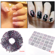 1sheet(30pcs) Nail Sticker Lot Mix Designs Plastic 3D Flower Pattern Adhesive 6.3X5.4cm Stickers For Nails Art #NL1