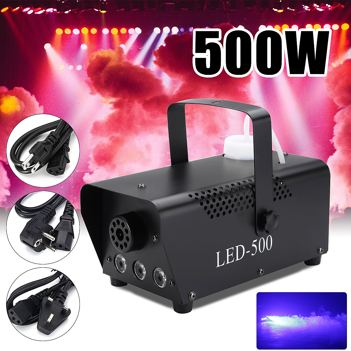 Wireless Control 500W LED Smoke Machine RGB Color Change LED Fog Light Professional IP20 Stage Lighting Effect For Stage Action