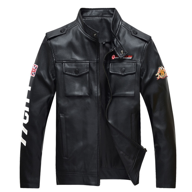 Leather Jacket Men 2016 Bomber Biker Jackts and Costs Male Casual Outwear Windbreaker Air Force One jacketJ Plus Size 4XL,YA373