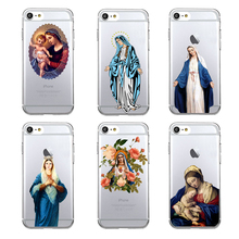 Bless Virgin Mary Dirt-resistant Transparent Unique High Quality Silicone Thin Soft TPU Case Phone Cover for iPhone 7 6 plus 5 S