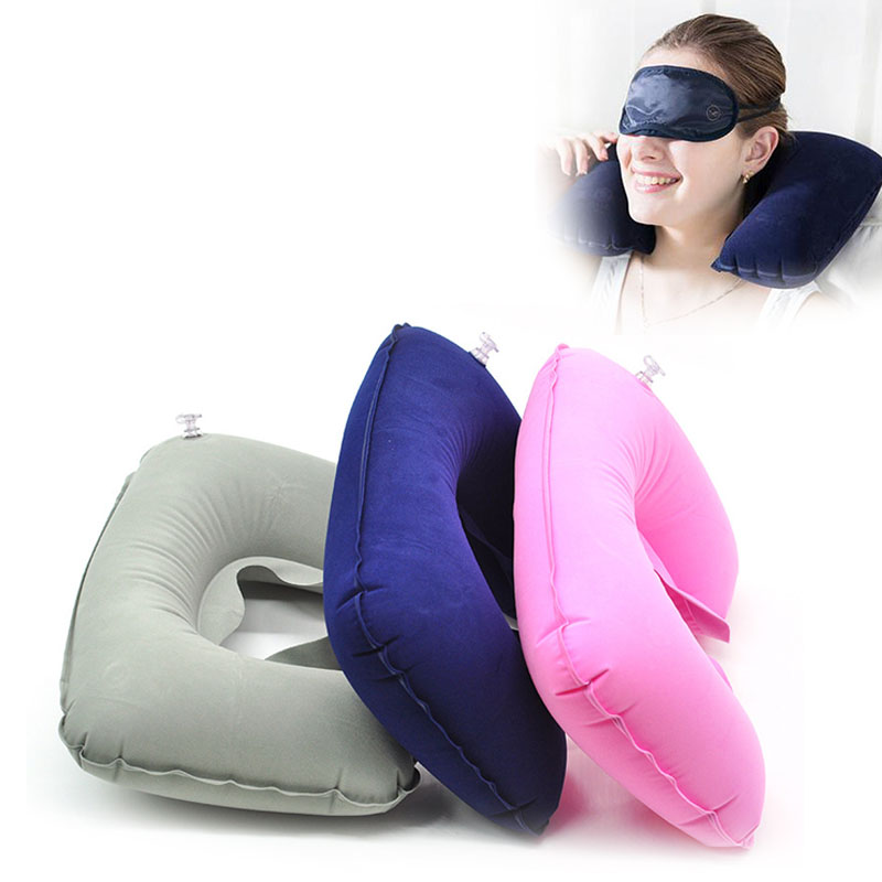 Travel Inflatable U Shaped Folding Pillow Neck Car Head Rest Air Cushion for Travel Office Nap Head Rest Air Cushion Neck Pillow