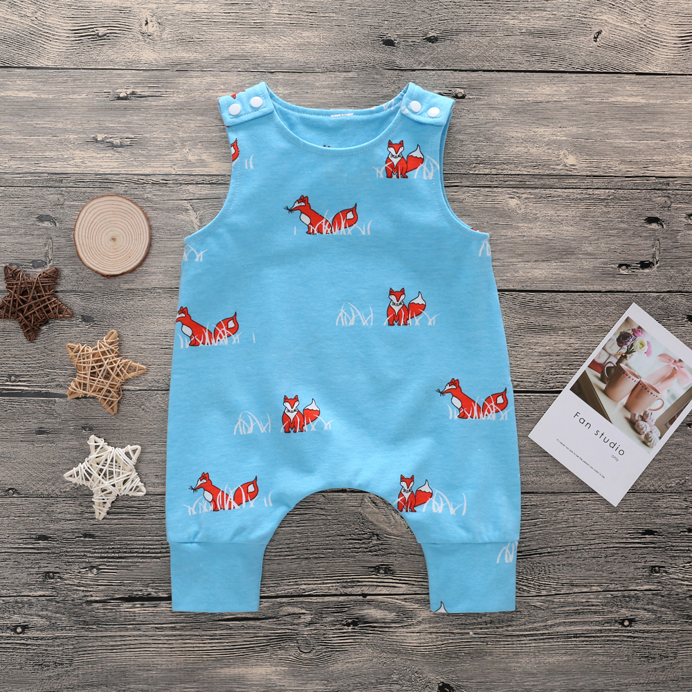 Newborn Baby Kids Boy Girl   Rompers   Toddler Fox Short   Romper   Sleeveless O-Neck Cotton Jumpsuit Playsuit Boys Girls   Romper   Outfits