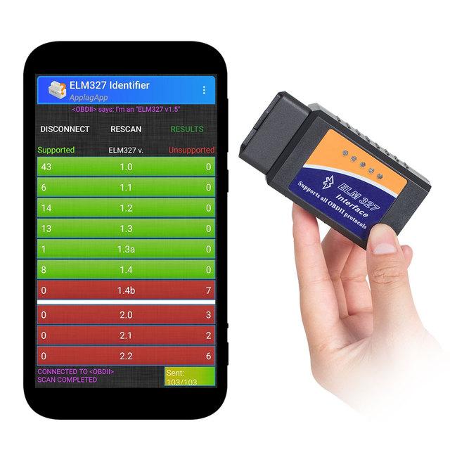 ELM327 OBD2 Bluetooth/WIFI V1.5 Car Diagnostic Tool ELM 327 OBD II Scanner Chip PIC18F25K80 Work Android/IOS/Windows 12V Diesel