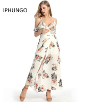 IPHUNGO High Quality Ladies Sexy Open Fork Print Condole Belt Beach Long Dress Women Fashion Clothing