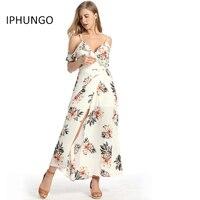 IPHUNGO Estampado floral Ruffles Larga de La Gasa Vestido de Mujer Correa de Cuello V de Split Beach Summer Dress Sexy Backless Vestidos Maxi