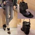 Высокое качество летний стиль женщин клинья сандалии высокие каблуки полное зерно кожаные сапоги летние открытые босоножки туфли на платформе