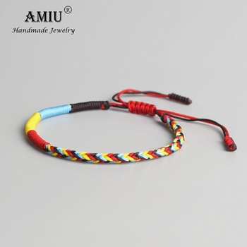 AMIU Tibetan Buddhist Tibetan Lucky Braided Bracelets & Bangles For Women Men Handmade Knots Green Rope Amulet Gift Bracelet buddhist rope bracelet