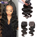 3 Bundles Body Wave With Closure Brazilian Virgin Hair Wet And Wavy With Closure Human Hair Bundles With Closure