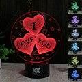 Hy no.16-30 luces de control remoto 7 colores que cambian noche 3d de escritorio led lámpara de mesa decoración del hogar para los regalos