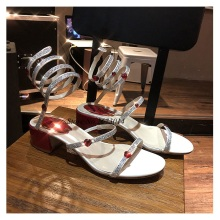 Sweet Sandals Women Summer Snake-Shaped Winding Love Crystal Shoes Square Heel Gladiator Cross-Band