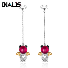 INALIS New Delicate Cute Drop Earrings 925 Sterling Silver Long Chian with Angle Dangle Brincos Red Clear CZ Fine Jewelry Girl inalis new delicate cute drop earrings 925 sterling silver long chian with angle dangle brincos red clear cz fine jewelry girl