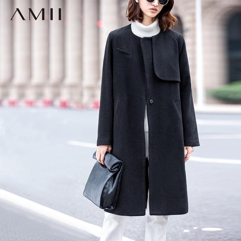 Amii Casual Women Woolen Coat 2018 Winter Single Button O Neck Solid Female Wool Blends