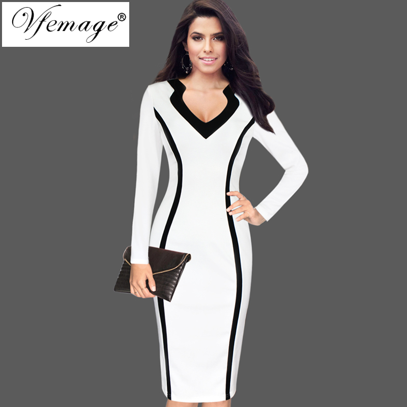 b52acd3a6b50 Vfemage Women Elegant Optical Illusion Colorblock Contrast Patchwork Long  Sleeve Wear to Work Office Business Bodycon Dress 7963