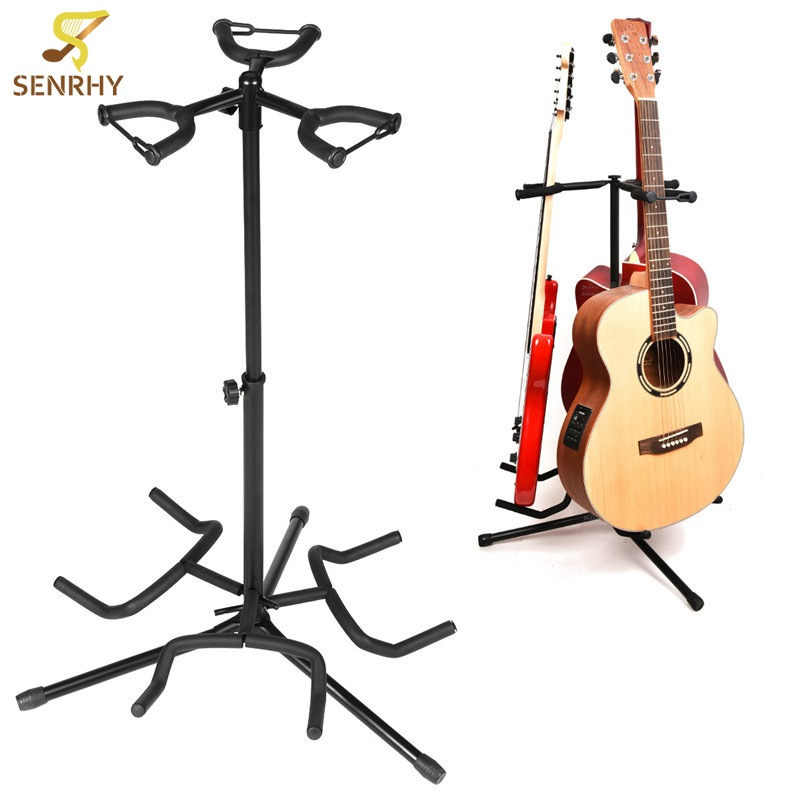3 Holder Iron Foldable Acoustic Electric Bass Guitar Guitarra Stand Holder Bracket Mount for Musical Instruments Part Accessoris foldable scratch proof anti skid guitar stand holder bracket mount universal for acoustic classical electric guitar ukulele bass