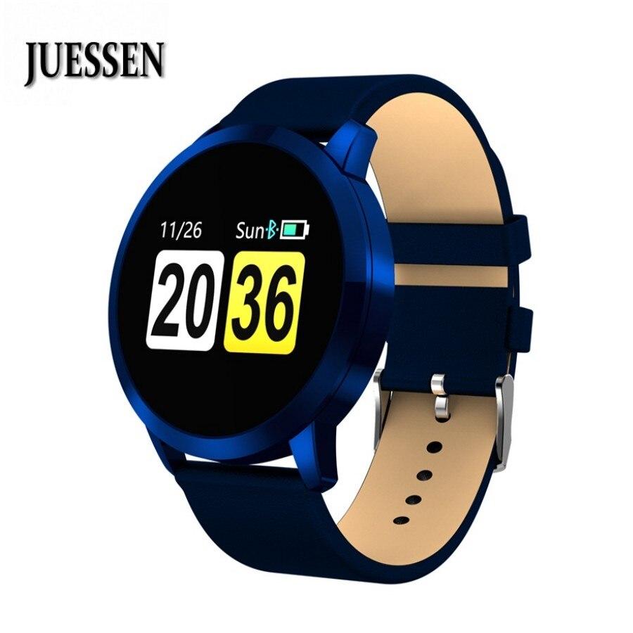 Q8 reloj inteligente impermeable Monitor de ritmo cardíaco reloj de acero inoxidable de las mujeres de los hombres de moda Fitness Tracker portátil reloj de pulsera
