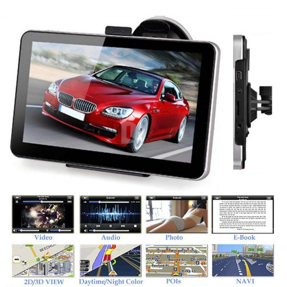 7 Inch Car GPS Navigation 800MHz 128MB 8GB TFT Touch Screen FM Bluetooth Worldwide Map Truck GPS Navigators With Sun Shield