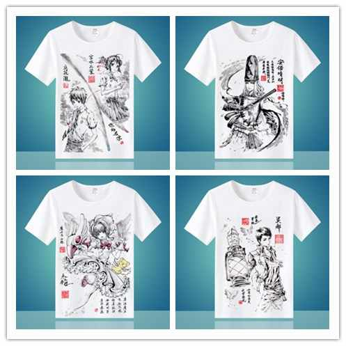 23 Styles fate Rurouni Kenshin Gintama Cardcaptor Sakura Ink painting Animation short-sleeved T-shirt