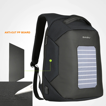 BAIBU Men Backpack Solar Powered Backpack Usb Charging Anti-Theft 15.6'' Laptop Backpack for Men Laptop Bagpack Waterproof Bags 1