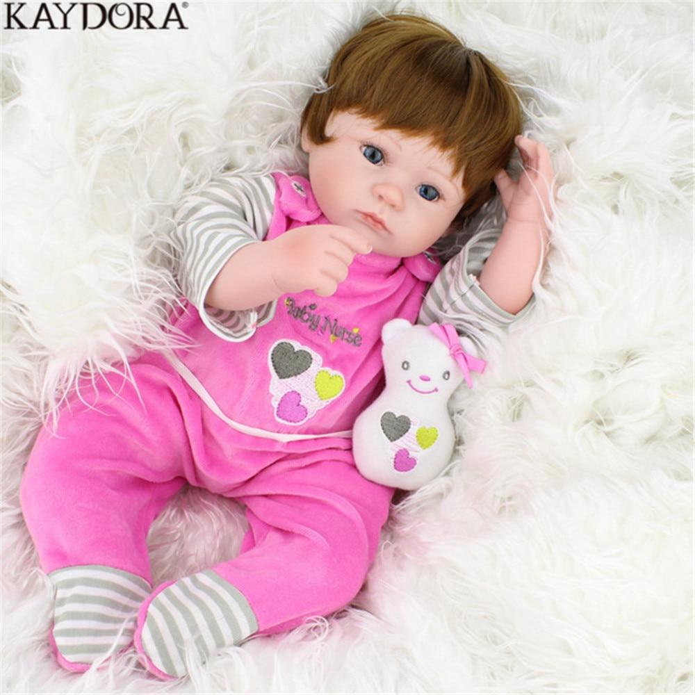 KAYDORA Reborn Silicone Dolls Classic Popular Realistic Body Vinyl 16 Inch With Plush Toys Child Gift